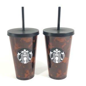 Two Starbucks Mocha Swirl Tortoiseshell 16oz Cups